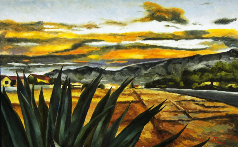 1612A SUNRISE, BORDER ROCK ROAD  Oil on Panel 20X32