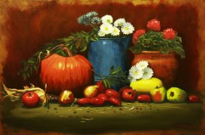 AMP 34 Garden Still Life  24x36 Oil on Canvas