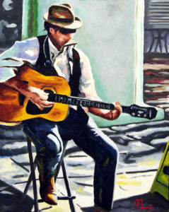 1701C FOURTH STREET BUSKER Oil on Panel