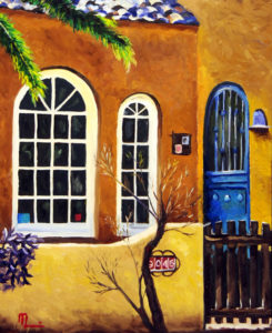 1701E PALM WITH BLUE DOOR Oil on Panel