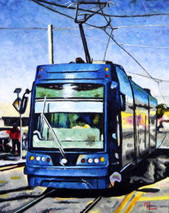 1704E FOURTH STREET TROLLY 16x20 Oil on Panel