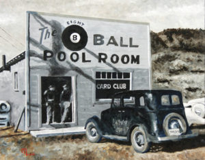 1712A THE POOL ROOM 16X20 Oil on Panel