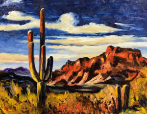 1903D ACROSS THE SUPERSTITIONS 16x20 Oil on Panel