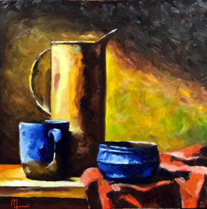 1903E BLUE CUP STILL LIFE 16x16 Oil on Panel