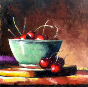 1904C CHERRIES WITH GREEN BOWL 16x16 Oil on Panel