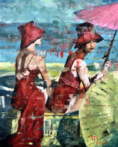 1906A TWO GIRLS ON A BEACH 16x20 Oil on Panel